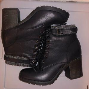 Mia Shoes - Black Combat Boot Heels